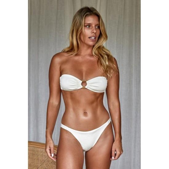 Monday Swimwear Official Store Java Bottom - Ivory Crinkle